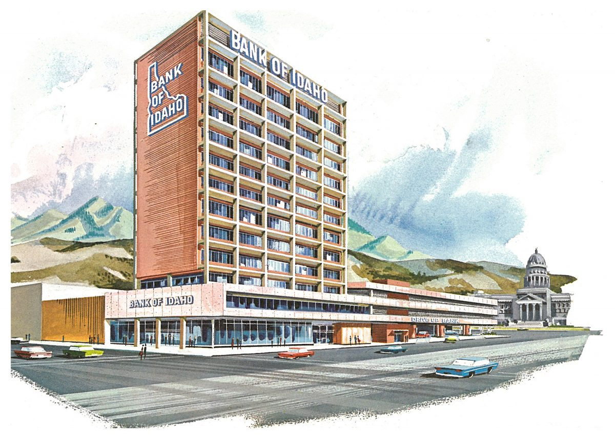 Bank-of-Idaho-Watercolor-rendering-Wayland-Cline-and-Smull-1963