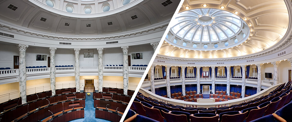 Idaho State Capitol before and after images of CSHQA historic preservation work on the House Chambers.
