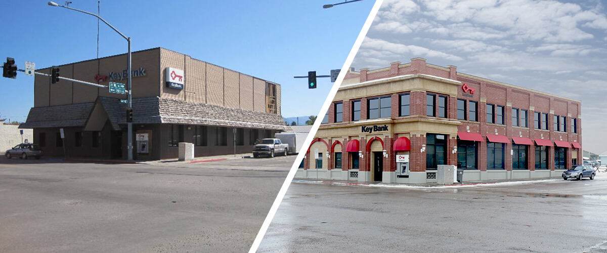 Before and after photos of CSHQA's historic preservation work on Keybank First National Bank of Driggs
