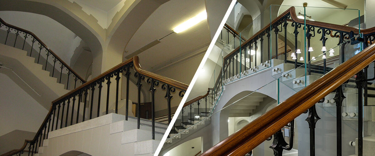 Before and after images of CSHQA's historic preservation work on the University of Idaho Administration Building's foyer and stairs.