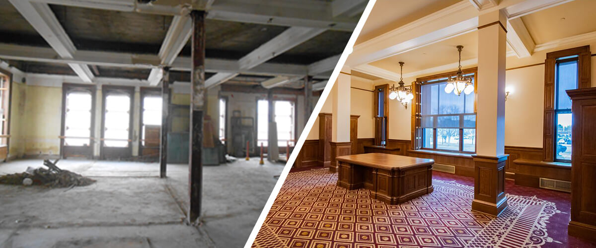 Before and After images of CSHQA's historic preservation work on the Wyoming Capitol Governor's Office